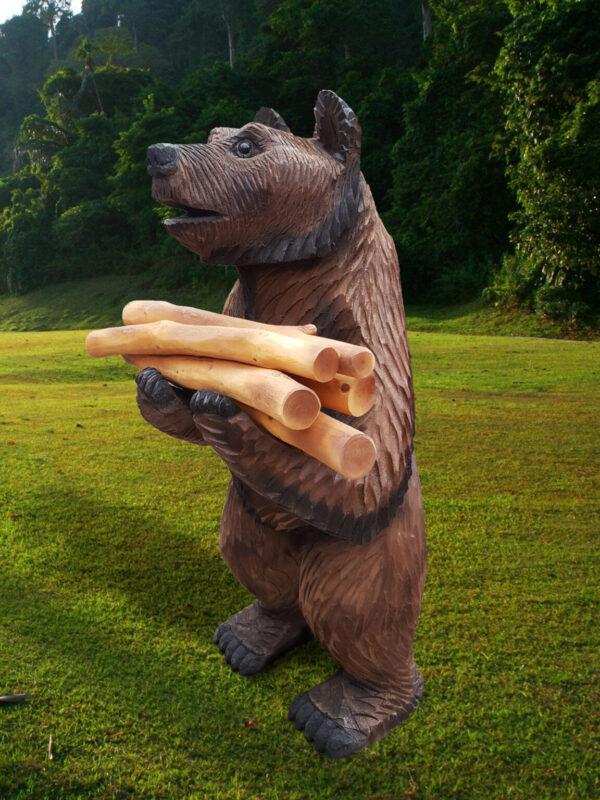 Фигура садовая Мишка с дровами