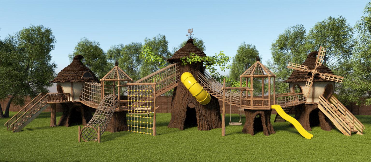 Резная детская площадка из дерева