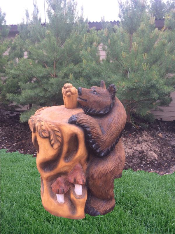 Скульптура Мишка-столик с кружкой