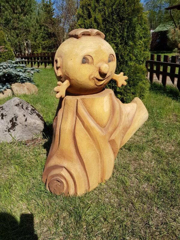 """Скульптура из дерева """"Колобок на пеньке"""""""