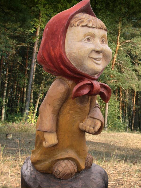 """Скульптура садовая из дерева """"Маша"""""""
