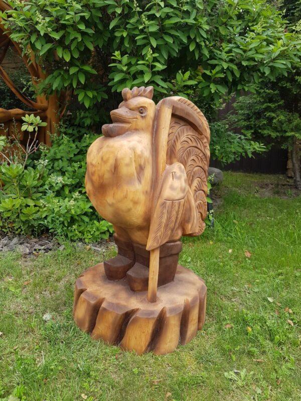 Резная скульптура из дерева Петушок Золотой Гребешок