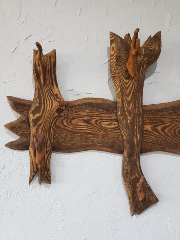 Вешалка под старину с деревянными крючками