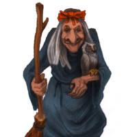 Баба Яга с метлой и совой