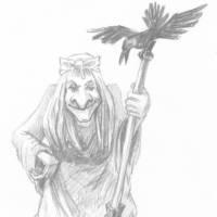 Баба Яга с метлой и вороной
