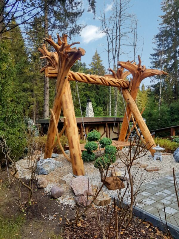 Качели садовые на 4х корнях