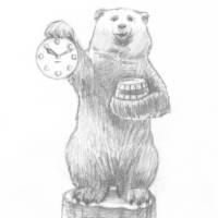 Мишка с часами и бочонком меда