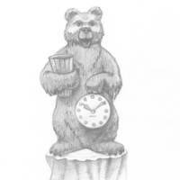 Мишка с часами и вазой